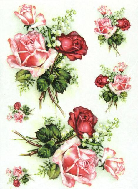 Rice Paper Rose Bouquet Decoupage Decopatch Scrapbook Craft Sheet Beautiful