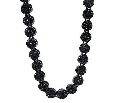 "Mens New Black Gold Finish Diamond Simulated Crystal 30"" Flower Necklace Chain"