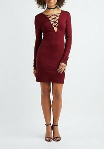 0cc36b169ccfa Image is loading NWT-Charlotte-Russe-Lattice-Front-Bodycon-Dress-Burgundy-