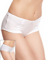 Ex M&S Marks and Spencer 2PK White Salmon Pink Stripe Cotton Rich Shorts Knicker