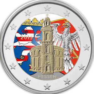 2-Euro-Gedenkmuenze-BRD-Deutschland-2015-Hessen-coloriert-Farbe-Farbmuenze