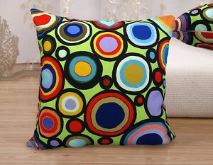 VELVET-PILLOW-COVER-Circle-Time-FOLK-ART-ABSTRACT-Various-Sizes-Karla-Gerard