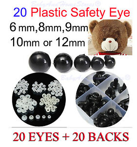 Safety-Eyes-For-Teddy-Bear-supplies-6mm-8mm-9mm-10mm-OR-12mm-20-BLACK