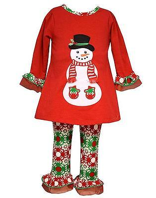 New Girls Bonnie Jean sz 12m Red Green SNOWMAN Outfit Holiday Christmas Clothes