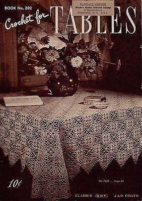 Coats Clark 202 Crochet for Tables Tablecloth Block Motif Doily Patterns 1943