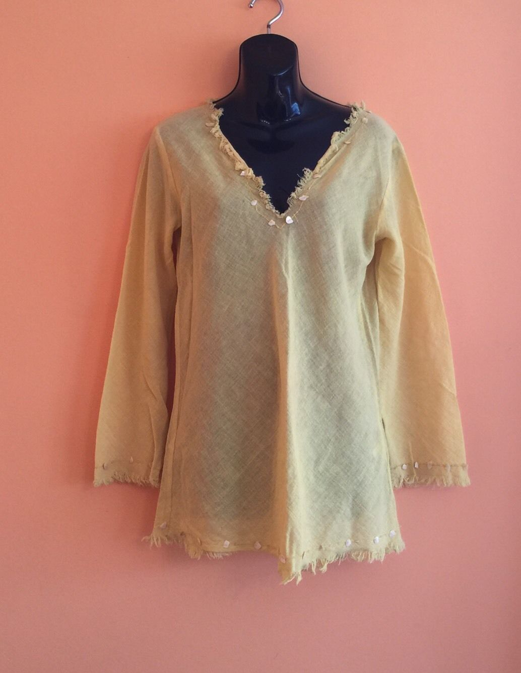 NWOT Valentino Jeans Yellow 100% Cotton Tunic Top w  Seashell Detail SZ IT 46