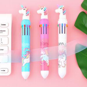 Unicorn 10 colour wings ballpoint pen happy 0.5 multi-function Cute study school Y08IavGj-09094018-477646451