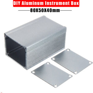Aluminium-Instrument-Box-Elektronisches-Kleingehaeuse-Gehaeuse-grau-80x50x40mm