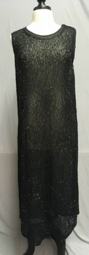 #20-139, 1920's Jet Beaded Flapper Formal Evening