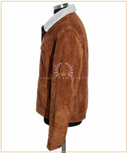 Details about  /Convoy Tan Men/'s Fur Collar Fur Lining Trucker Cowhide Suede Leather Jacket