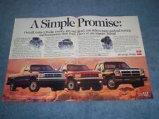 """1992 Dodge Ram Cummins & Dakota Pickup Vintage 2pg Ad """"A Simple Promise"""""""