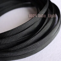 3mm~100mm Black Tight Braided PET Expandable Sleeving Cable Wire Sheath lot