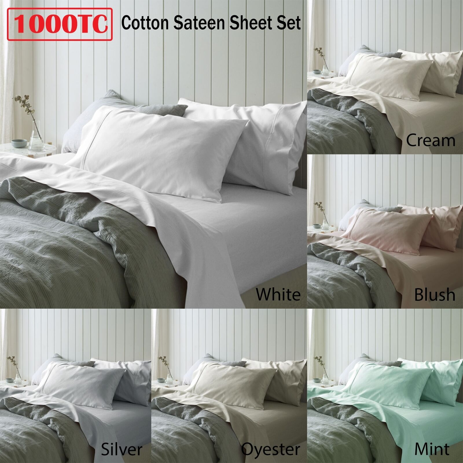 1000TC Cotton Sateen Sheet Set - SINGLE DOUBLE QUEEN KING Super King