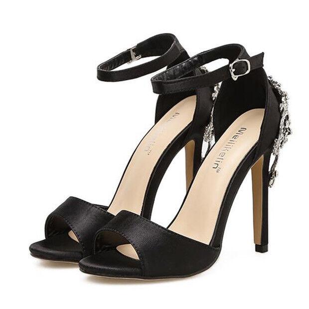 Sandalei eleganti tacco tacco tacco stiletto 11 gioiello cm nero gioiello 11 ... bc874a