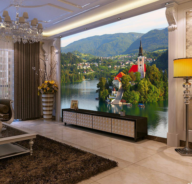 Lake Bled Romantic Village Full Wall Mural Photo Wallpaper Print Home 3D Decal
