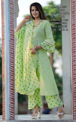 Indian Bollywood Kurta Kurti with Palazzo Women Ethnic Dress Set Top Tees Bottom