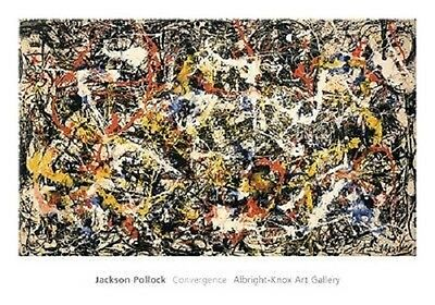 """DRIPPING ABSTRACT Repro CANVAS 49W/""""x29H/"""" CONVERGENCE by JACKSON POLLOCK"""