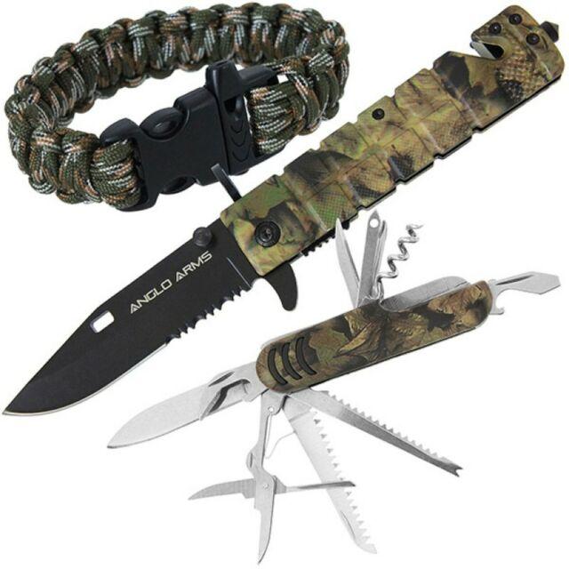 Messer Set Amazon Camo Paracord Armband Survival Multitool