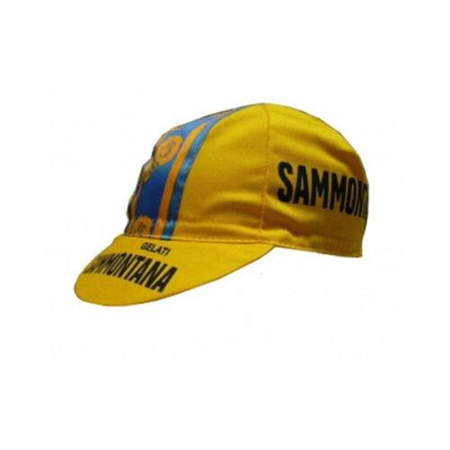 Sammontana Vintage Cycling Cap Yellow Professional Rider Bicycle Cap
