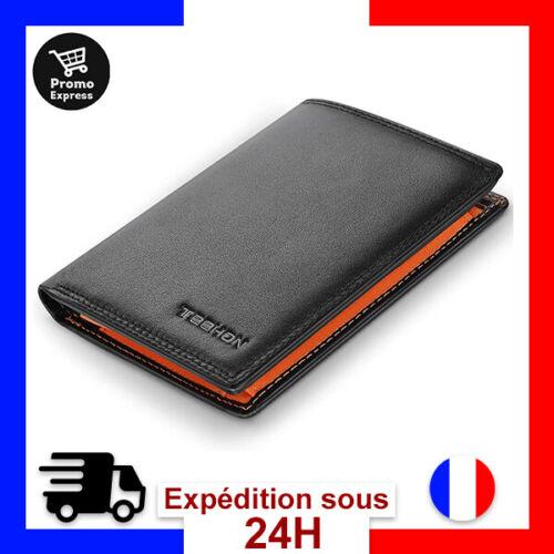 Portefeuille Homme Cuir Porte-Monnaie Blocage Rfid//Nfc Porte Carte Crédit Noir