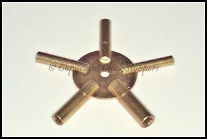 Clock Winding Key Brass Even Sizes Star Spider Bench 4 6 8 10 12 Winder 5 Prong