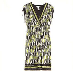 London-Times-Womens-Green-Black-Sleeveless-Empire-Waist-Career-Dress-Size-10