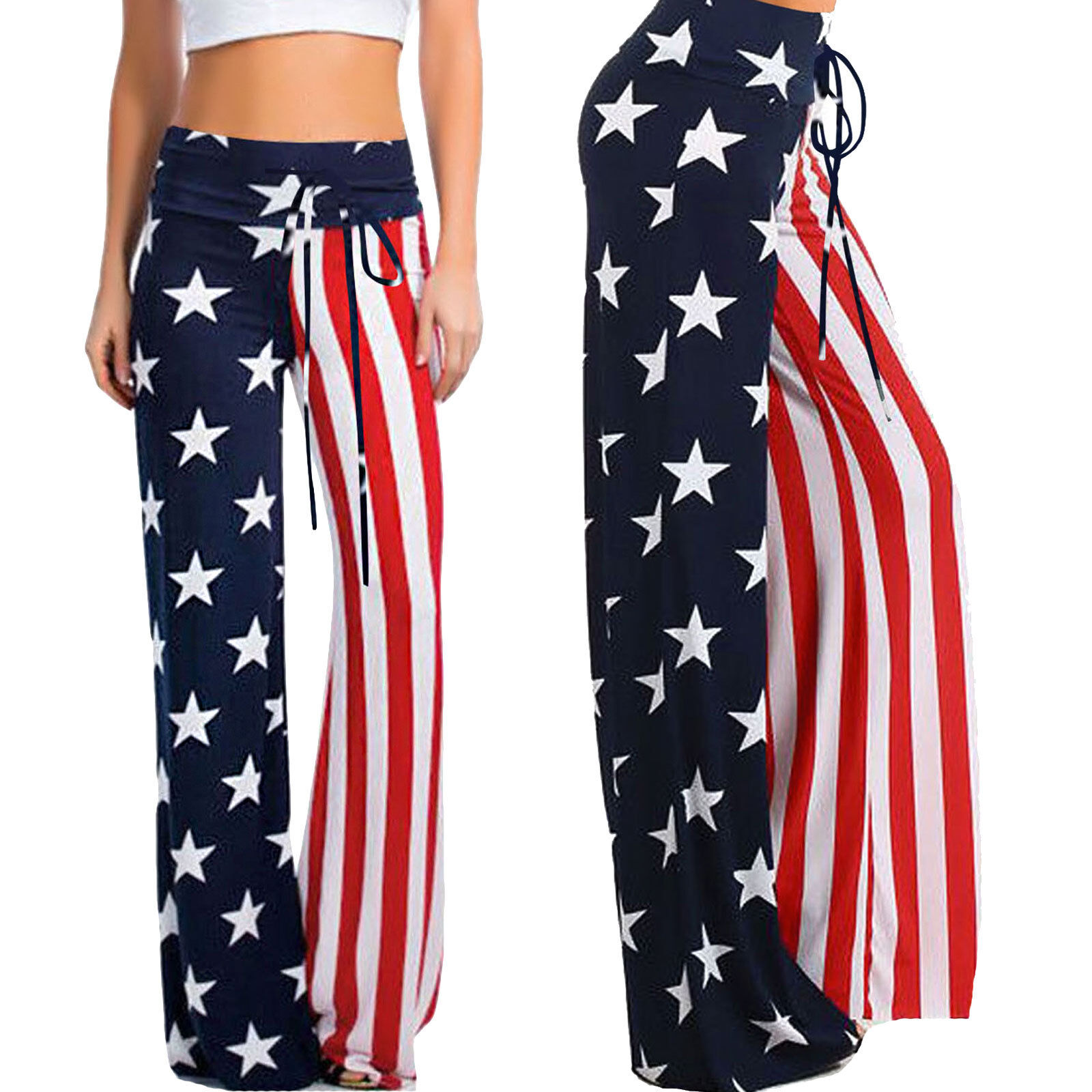 Hose Frau Usa-Flagge Flag Yoga Hose Sport Mehrfarben Sterne DL-2256