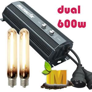 DUAL-Nanolux-Digital-600w-Ballast-2x-HPS-Lamps-Hydroponics-Grow-Light-Kit