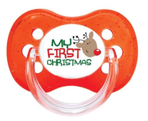 FIRST CHRISTMAS 6 ALL TEATS SIZES /& COLOURS UNIQUE DUMMY PACIFIER SOOTHER
