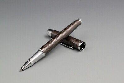 Perfect Parker New IM Grid Rollerball Pen Metal Gray Silver Clip 0.5mm Fine Nib
