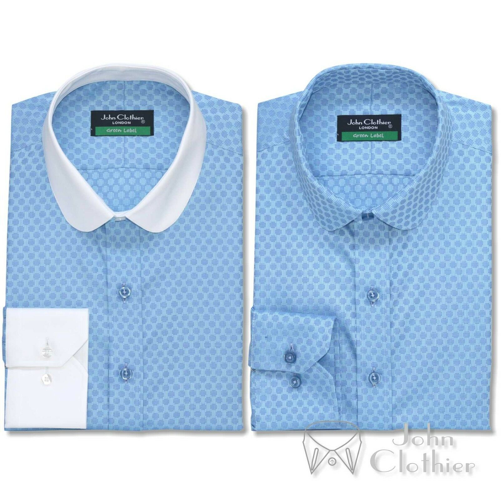 Herren Penny collar Texture shirt Sea Blau Jacquard Bankers Club collar for Gent