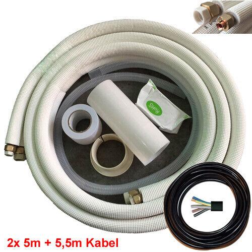 """2x 3//4//5//7//10//15//20 M TUBO RAME KIT Refrigerante Linea Aria Condizionata 1//4/""""+3//8/"""""""