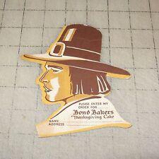 "Vintage BOND BAKERS Thanksgiving Cake Blank 5"" Order Sheet - PILGRIM HEAD Design"