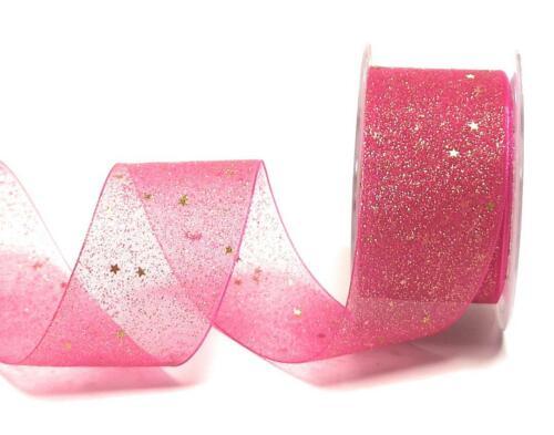3425 Gold Dekoband 1m//0,20€ Schleifenband 20m x 40mm Organza Sterne Pink