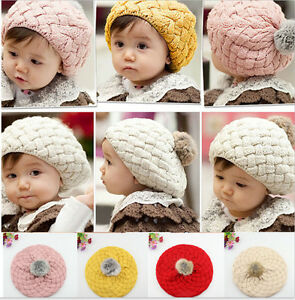 7500b94be Cute Baby Infant Girls Toddler Winter Warm Knitted Crochet Hat Cap ...