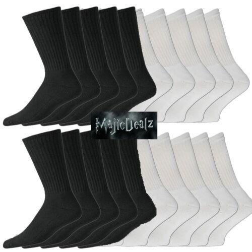15//30 Pairs Mens Cotton Rich Sport Socks Work Socks Size 6-11 Black White /& Mix