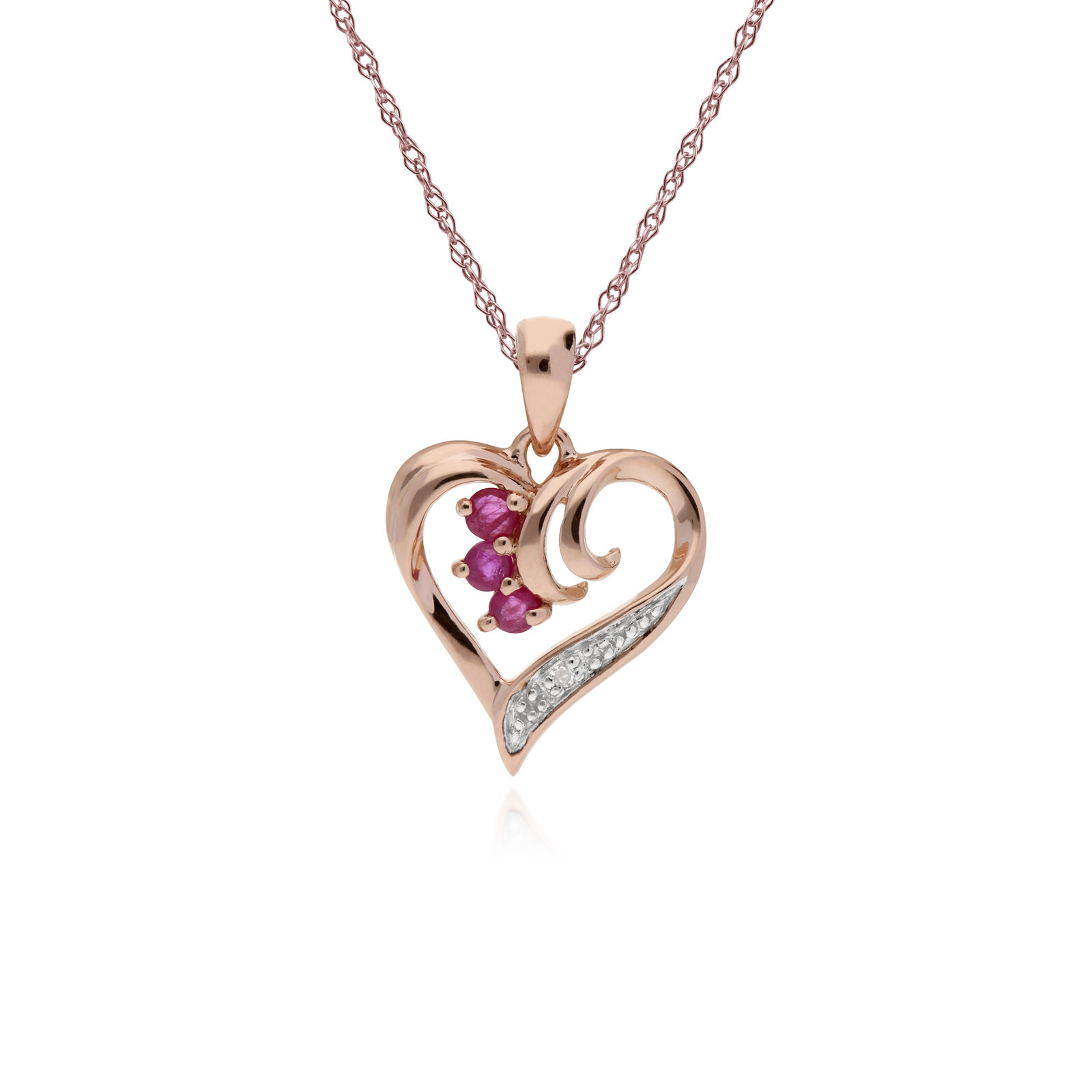 Gemondo 9ct pink gold 0.13ct Ruby & Diamond Heart Pendant on 45cm Chain