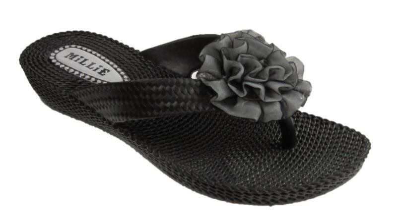 Girls Infants Toe Post Summer Sandals Flower Detail Black Size 10-2 Festsetzung Der Preise Nach ProduktqualitäT