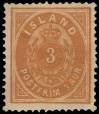 """ICELAND 15 (Mi12A) - Numeral of Value """"1882 Yellow Orange"""" (pa62679)"""