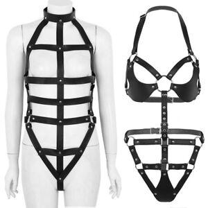 Women-Leather-Harness-Teddy-Costume-Lingerie-Halter-Neck-Top-T-back-Underwear