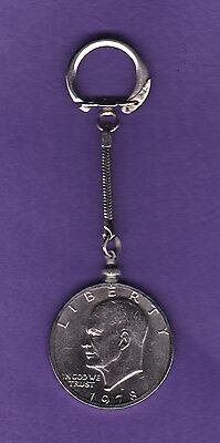Vintage 1978  Clad EISENHOWER DOLLAR KEYCHAIN Coin in Bezel