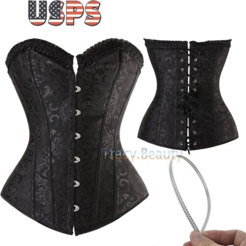 2018 Plus size New Waist Trainer shaper Lace up Overbust Corset Bustier Lingerie