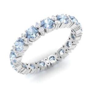 1.95 Ct Aquamarine Round Diamond Engagement 925 Sterling Silver Eternity Band