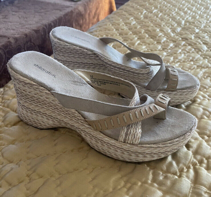 Chunky platform sandals with straps jute mules vi… - image 2