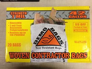 Demo Bags Woven Contractor Bags DB20-42 42 Gallon 7 Mil Tear Resistant Box of 20