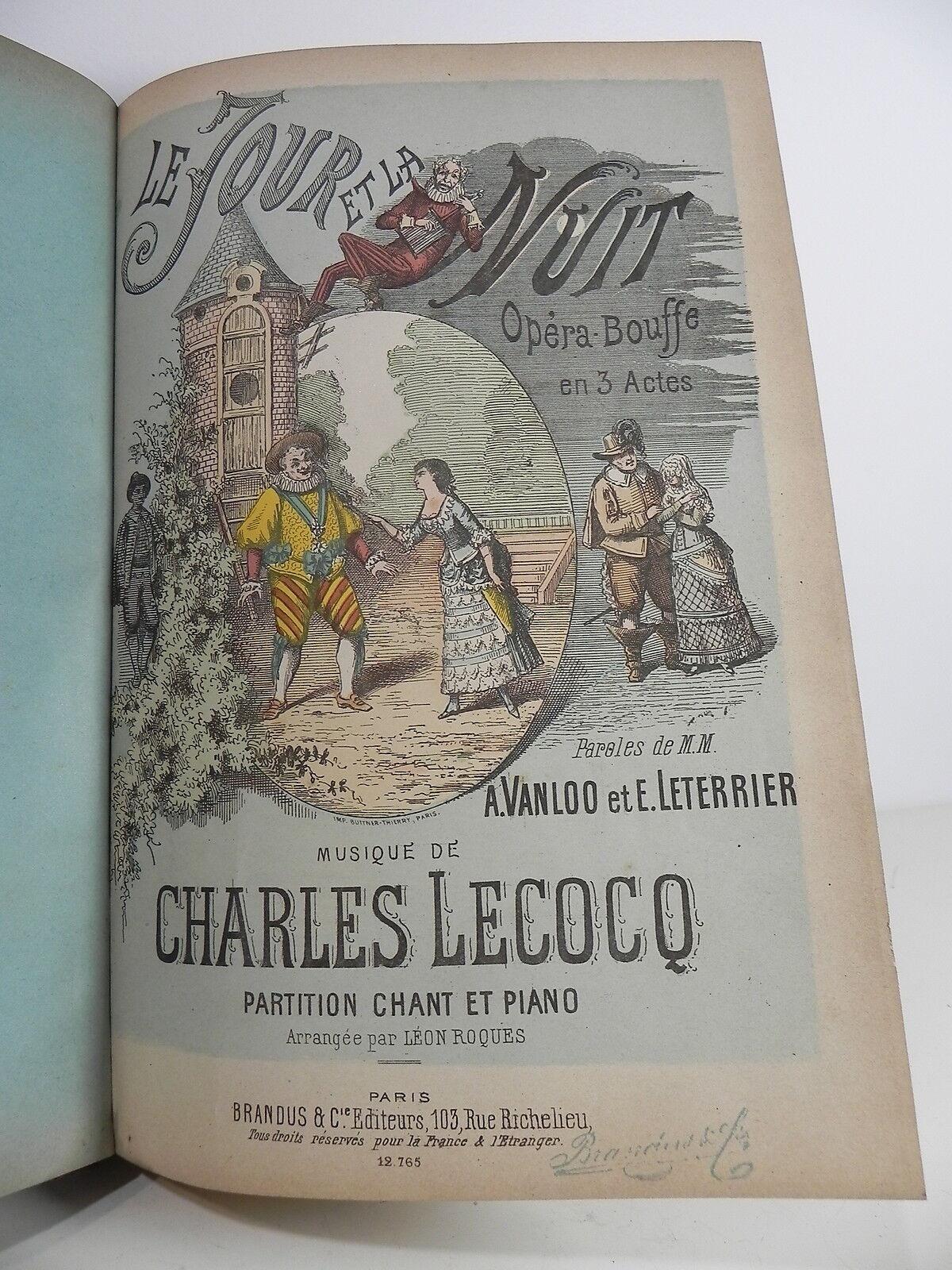 LECOCQ Charles LE JOUR ET LA NUIT Opéra Bouffe Partition sheet music score 1881