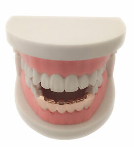 Hip Hop Iced 14K Rose Gold GP Mouth Teeth Bottom Lower Grills Grillz