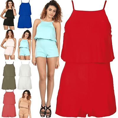 Womens Plain Strappy Playsuit Shorts All In One Ladies Camisole Jumpsuit 8-14