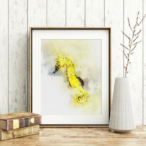 *UNFRAMED* Fab Picture Gift Watercolour Print Yellow Seahorse Wall Art A4