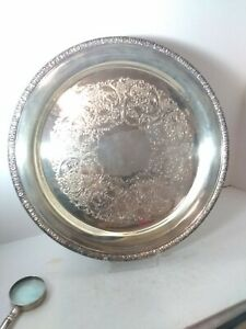 Vtg-Gorham-Silver-Plate-14-034-Round-Tray-Beautiful-Embossed-HEAVY-L-K